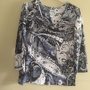 Chico's, Blue Floral Rayon/Spandex 3/4 Sleevs